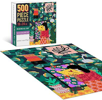 500 Piece Jigsaw Puzzle, Reading All Day Art by Studio Grand-Pere Contemporary Puzzles