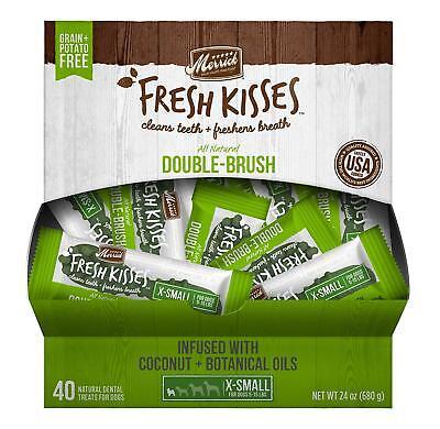 Merrick Fresh Kisses Coconut Oil Brush Dog Dental Treat, Extra Small, 40 Serving
