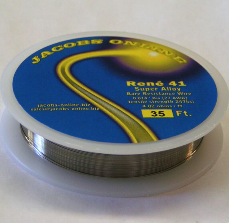 "Rene 41 resistance wire .014"" 27ga, 35 ft, superalloy ultimate hot wire cutting"