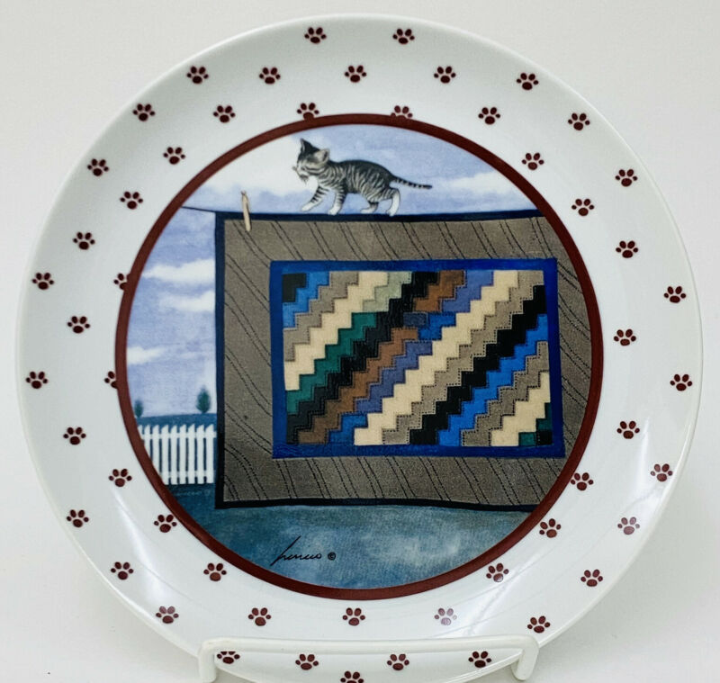 "VTG 1988 Vandor Lowell Herrero Cat Quilt Clothesline Decorative Plate 7.75"""