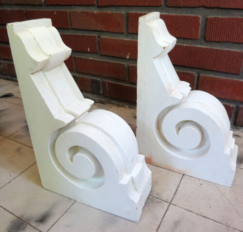 "Vintage Pair of Wood Corbel Brackets White Architectural Wall 12"" x 8"" x 3.25"""