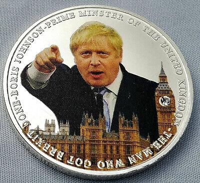 BORIS JOHNSON The Man Who Got Brexit Done Silver Coin Lion Faux Diamond MP PM UK
