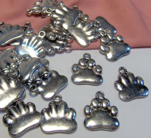 SILVER PAW PRINT CHARMS LOT-ANIMAL LOVER-50 PCS-FINDINGS-EARRING DROPS-JEWELRY
