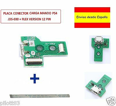 PLACA CONTROLADOR CONECTOR CARGA MANDO PS4 MICRO USB JDS-030 + CABLE FLEX...