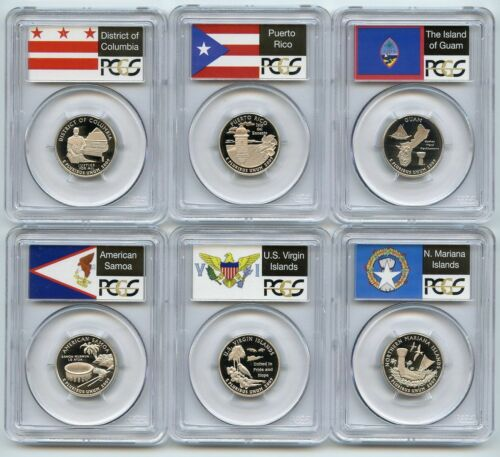 2009 S 25c Silver Territories Quarter Set PCGS PR70DCAM 6 coin State Flag set