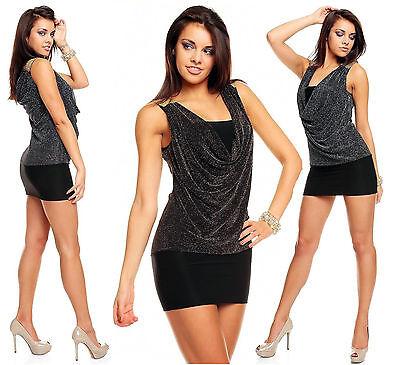ellished Party Bodycon Mini Dress size 8-14 (Cowl Neck Mini Kleid)