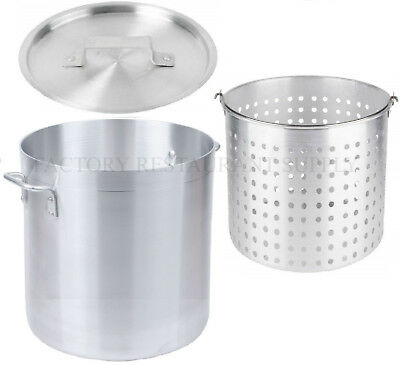 40 Qt 4mm Aluminum Stock Pot Commercial Lid Steamer Basket Soup Deep Fryer Fish