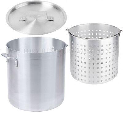 40 Qt 4mm Aluminum Stock Pot Commercial Lid Steamer Basket Soup Deep Fryer Fish