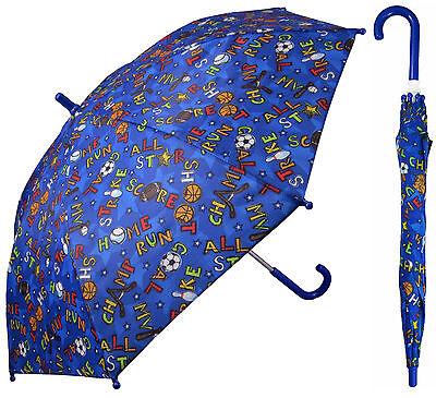 "32"" Children Kid Blue Sport Umbrella - RainStoppers Rain/Sun UV Cute"