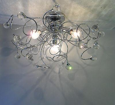 PLAFONIERA LAMPADARIO  sfere cristallo MINA 3 LUCI CROMATA moderna