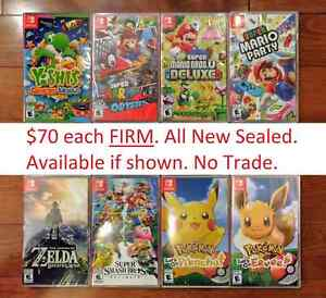 Brand New Nintendo Switch Games $70 Each FIRM