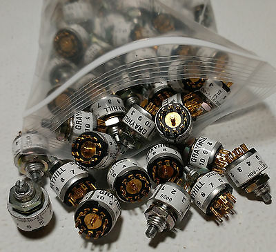 Grayhill Sp6t Rotary Miniature Switch 56b36-01-1-06n 56b3601106n Non-shorting X2