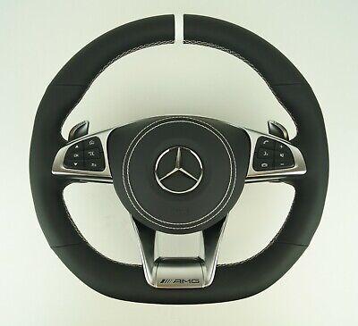 LE TEF® LEDER SCHWARZ Lenkrad für Mercedes-Benz AMG W222 C217 W205 C190 GTR