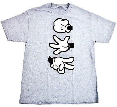 MICKEY MOUSE Hands T-shirt Adult Men Swag Tee S or M New (Adult Rock Paper Scissors)