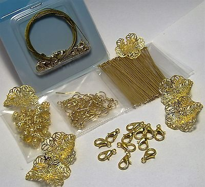 JEWELRY MAKING LOT-159 PCS GOLD FINDINGS-CLASPS-LARGE FILIGREE FLOWER BEAD CAPS