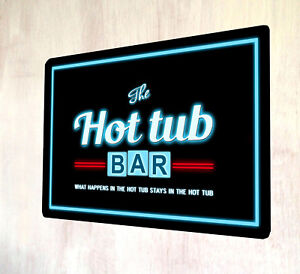 The Hot Tub Bar Retro Neon lights 80's style out door sign A4 metal plaque