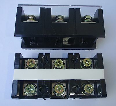 Wire Terminal Block Strip 60 Amp 3 Pole Tc603