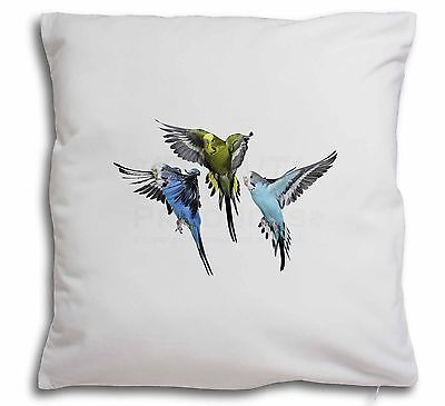 Budgerigars, Budgies in Flight Soft Velvet Feel Cushion Cover With In, AB-94-CPW