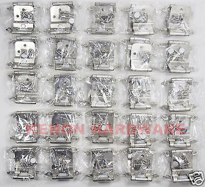 "Lot of 25 Pairs (50pcs) Self Closing 3/8""   INSET  Cabinet Hinges - Satin Nickel"