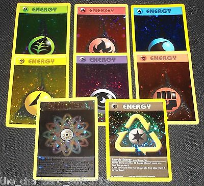 Complete ORIGINAL 8 Card HOLO Energy Set WIZARDS Promo NEAR MINT Pokemon Cards