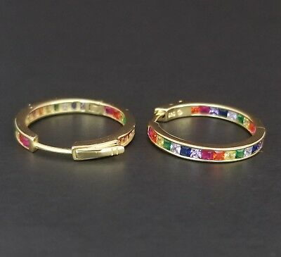 14k Yellow Gold Sterling Silver Square Ruby & Rainbow Multi Gem Hoop - Hoop Ruby Earrings
