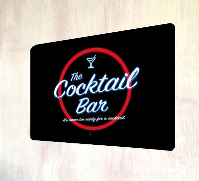The Cocktail Bar 80's neon style sign A4 metal plaque decor - 80s Decorating Style