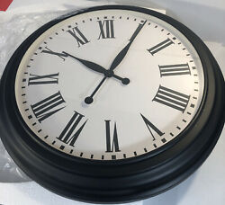 Pottery Barn Oversized Caroline Clock, Black 25 Diam Iron Roman Wall Mount NEW