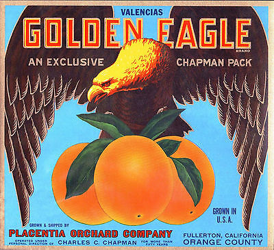 *Original* GOLDEN EAGLE Bird Fullerton Chapman Orange Crate Label NOT A COPY!