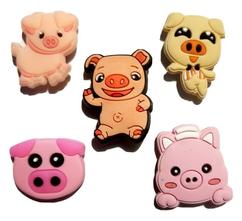 Pigs Piggies 5 Pc Shoe Charm Set! For Clogs, Crocs, Bracelets, Crafts & More!