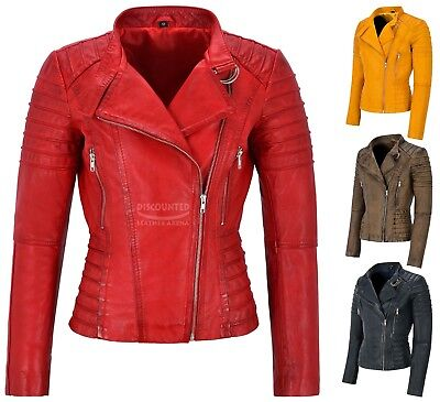 Ladies Leather Jacket Classic Biker Fashion Style 100% REAL LEATHER Jacket 9393