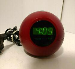RARE Memorex Sphere Timeball Alarm Clock Radio Retro Red Ball MSP-CR1100
