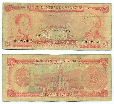 Venezuela Note 5 Bolivares 29  01 1974 Serial D 7 Digit P 50H