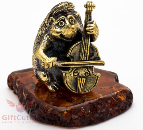 Solid Brass Amber Figurine of Hedgehog playing on Cellos IronWork