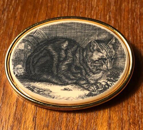 sitting cat/kittie/kitten mouse scrimshaw oval pin/lapel/brooch steinlen mfa