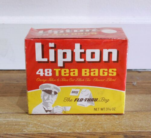 Vintage 70s Sealed Full Lipton Tea Bags Box Retro Packaging Prop 48 Pack