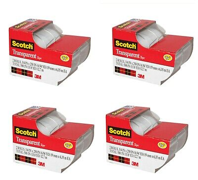 Lot Of 4 Pack 3m Scotch Transparent Tape 2-ct. 250x.75-in. Packs Free Shipping