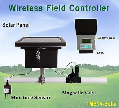 Moisture Sensor Based Solar Powered Wireless Field Controller Irrigation System