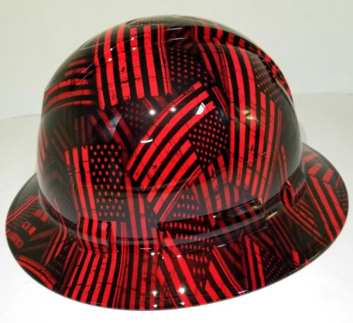 FULL BRIM Hard Hat custom hydro dipped , NEW CANDY RED USA FLAG FIREMANS FLAG 3