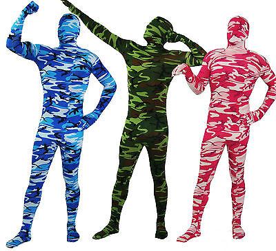 nzkörper-Kostüm Catsuits Camouflage Tarnanzug blau grün pink (Ganzkörperanzug Kostüm)