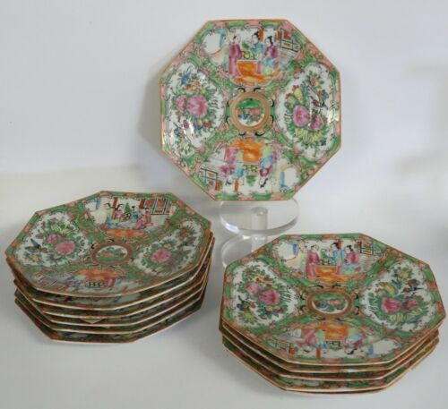 LOT of 12 ANTIQUE LATE 19 c. CHINESE QING ROSE MEDALLION OCTAGONAL PLATE ~ 8""