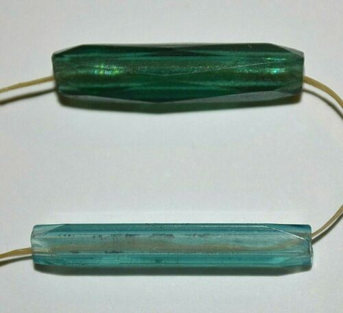 Rare Antique European Blue & Green Glass Faceted Beads, Collected African Trade