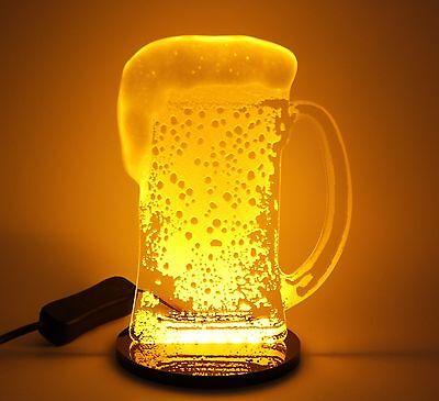 Man Cave Home Bar LED Realistic Foamy Beer Stein Glass Night Light Mug Sign