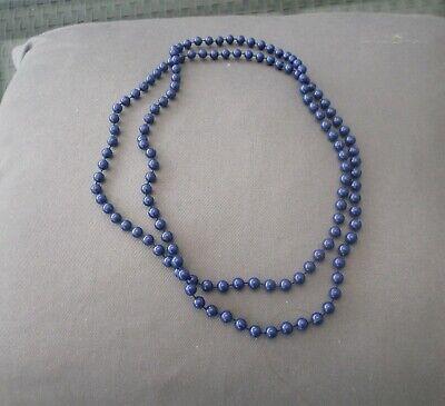 Modeschmuck Perlen Halskette lang 70er Jahre Vintage blaue - 70er Jahre Modeschmuck