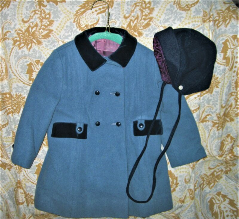 Vintage child's wool coat with cap