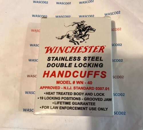 WINCHESTER WN-40 Stainless Steel Chained Handcuffs & 2 Keys
