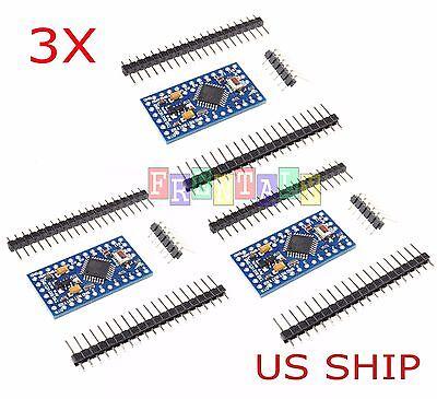 3x Arduino Pro Mini Board With Free Headers Atmega328p 16mhz 5v Atmega328