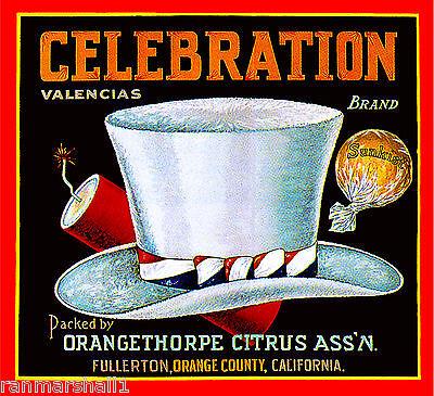 Happy New Year Art - Fullerton Celebration Happy New Year Orange Citrus Fruit Crate Label Art Print