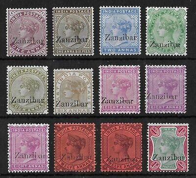 ZANZIBAR 1895-1896 Unused No Gum OVP Set of 12 Stamps Unchecked High CV!
