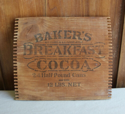 BAKER BREAKFAST COCOA WOODEN DOVETAIL BOX / CRATE END ONLY - GREAT WALL DECOR