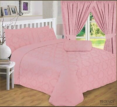 DOUBLE BED REGENCY ROSE GOLD LUXURY DAMASK JACQUARD BEDDING SET 4 PILLOWCASES